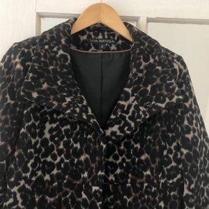 Via Spiga leopard coat Like new. Never worn